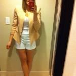 Zara blazer $159, Wilfred tank $40, H&M shorts %19, Cross Necklaces $6 each, Jimmy Choo's $695