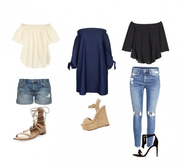 Left to Right Top: H&M Short: Current Eliot Shoe: Stuart Weitzman Dress: Tibi Shoe: Charlotte Olympia Top: Rebecca Taylor Denim: H&M Shoe: Alexander Birman